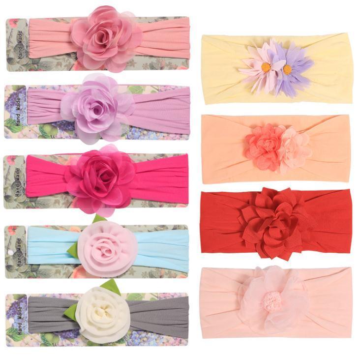 2020 Accessoires pour bébés filles en mousseline de soie flowerHeadbands enfant en bas âge bande cheveux Couvre-chef du nouveau-né Solide photo Props Cadeaux Enfants FD38