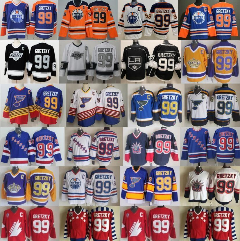CCM Vintage 99 Wayne Gretzky Jersey Men Ice Hockey New York Rangers St. Louis Blues LA Los Angeles Kings Edmonton Oilers Blue Black White