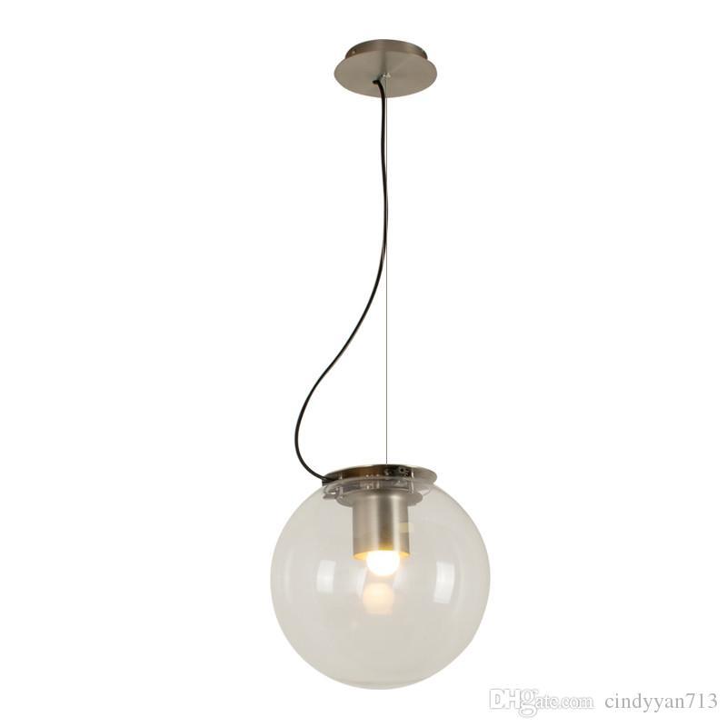 Retro Glass Metal Pendant Lights Round Balls Suspension LED Lamp For Living Room Dining Room Bar Coffee Home Lighting PA0439