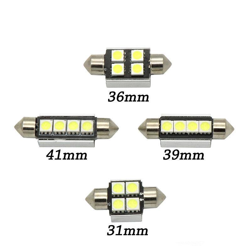 Lampadina 100x di alta qualità 31mm 36mm 39mm 42mm C5W C10W Super Bright 5050 SMD LED auto festone luce Canbus errore Free Doom interno EEA402