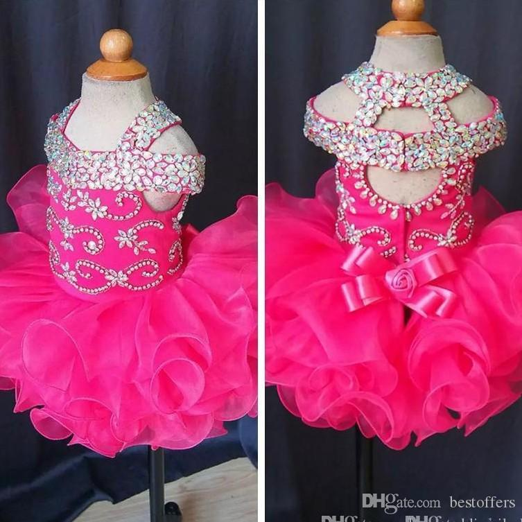 Cute 2019 Infant Mini Short Skirts Toddler Girls Ruffles Flower Girls Dress Baby Girls Glitz Crystal Beaded Pageant Cupcake Gowns Real Phot
