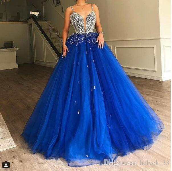 Ball Gown Royal Blue Tulle Long Prom Dresses Diamonds Beads Puffy Train 2019 New Elegant Evening Gown Elie Saab Quinceanera Dresses