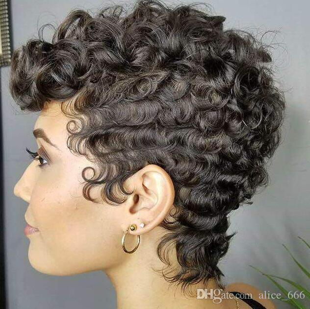 베스트셀러 검은 작은 곱슬 머리 가발 검은 색 여성 패션 짧은 고온 실크 화학 섬유 후드 고급은 내부 그물 장미