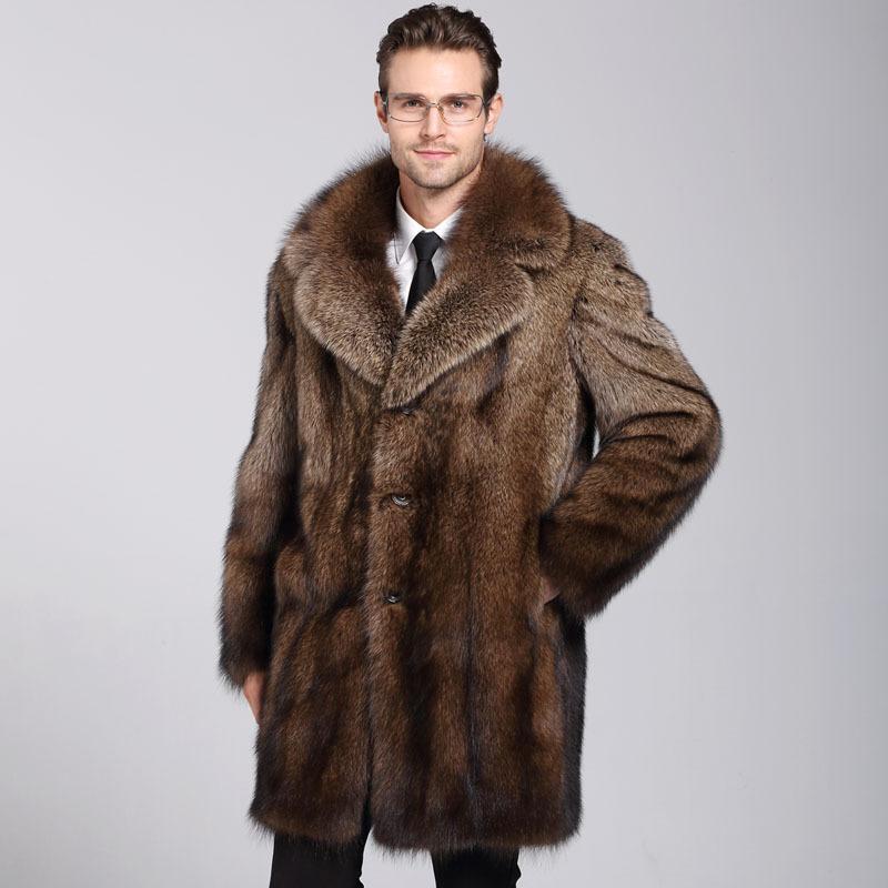 معطف جديد المنك الذكور في الخريف والشتاء عام 2018