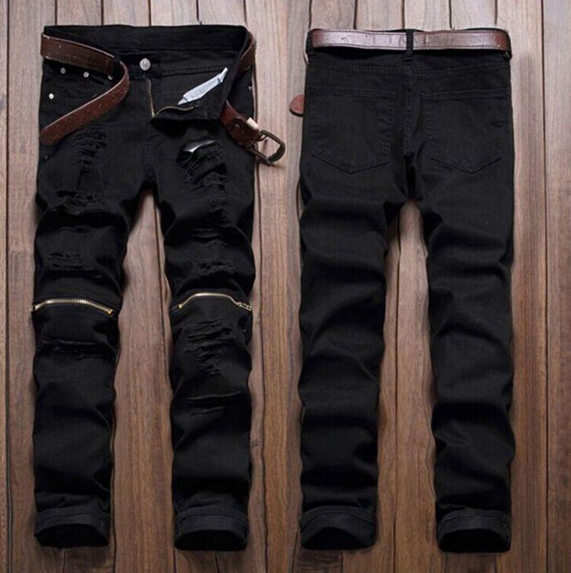 Men Stylish Ripped Jeans Zipper Hollow Out Biker Classic Skinny Slim Straight Denim Trousers Hot Sale