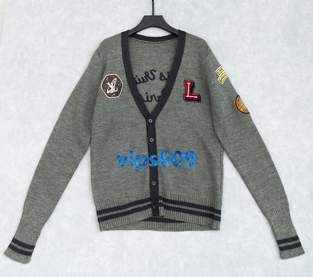 Le donne Cardigan maglione manica lunga con scollo a V Lettera di modello di colore a blocchi di stampa della banda di moda femminile camicia Knit Cardigan