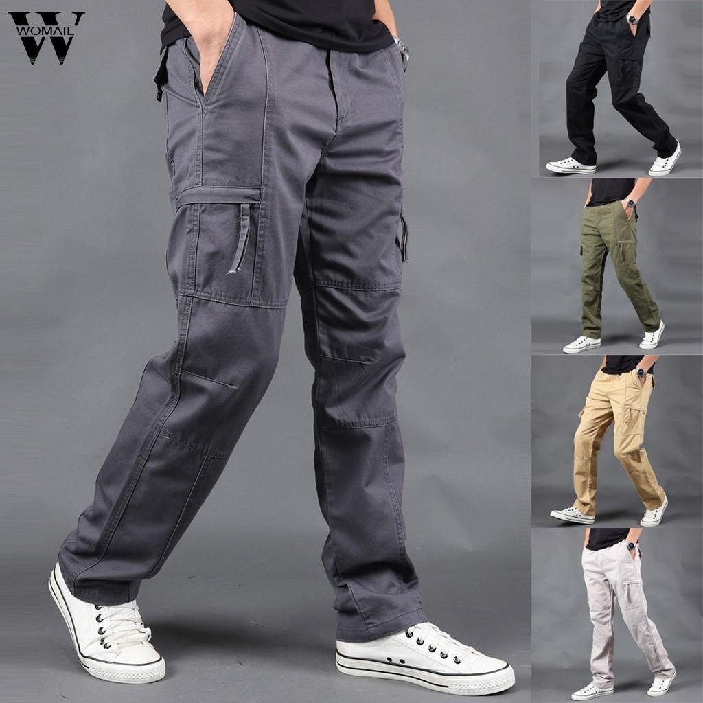 Womail Mutanda degli uomini modo di Multi-tasca Men Casual Pure Color Pantaloni slim Pantaloni Sport Pantaloni esterna Mens pantaloni lunghi S-5XL J64