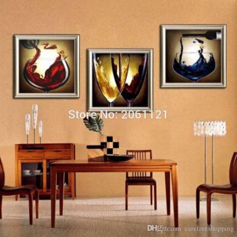 Compre Pintado A Mano Moderno Comedor Pinturas Al Óleo Decorativas  Champagne Vidrio Pared Lienzo Arte Vino Vida Pintura Imagen Decoración De  La ...