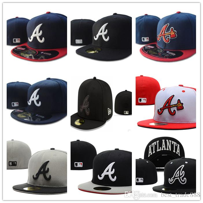 Many Colors New Arriva Mens Braves Fitted hats flat Brim Atlanta baseball Hats embroidered A logo on field full closed cap