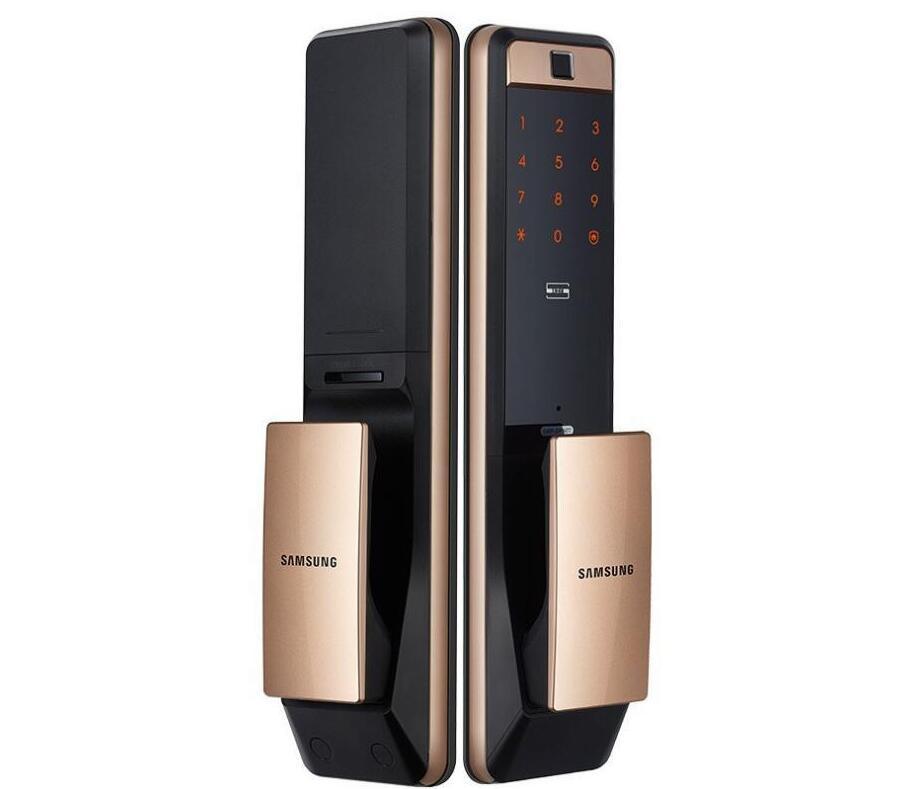 SAMSUNG SHP-DP609 sans clé d'empreintes digitales PUSH PULL Two Way numérique Door Lock English Version Big mortaise couleur or