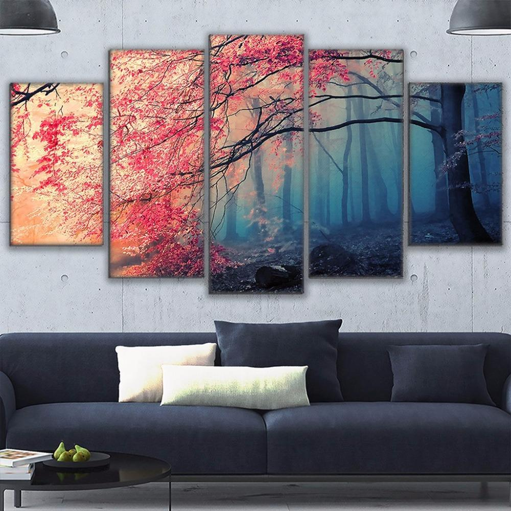 2021 Poster Hd Prints Modern Wall Art Canvas For Living Room Cherry Blossoms Pictures Decor Red Trees Forest Painting From Shouya2018 15 55 Dhgate Com
