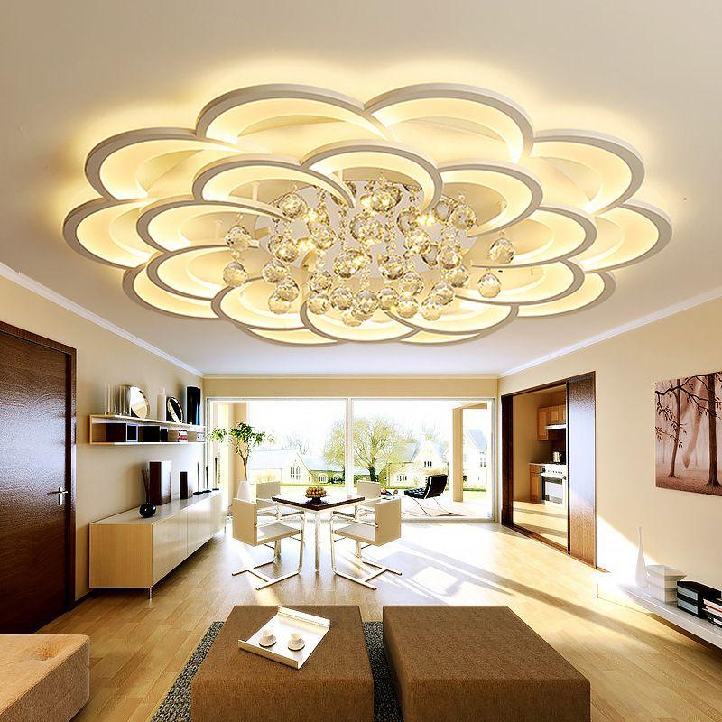 oda akrilik kristal İç ev avize lamba armatürleri yemek odası yatak odası için yeni, modern led avizeler 90-260V
