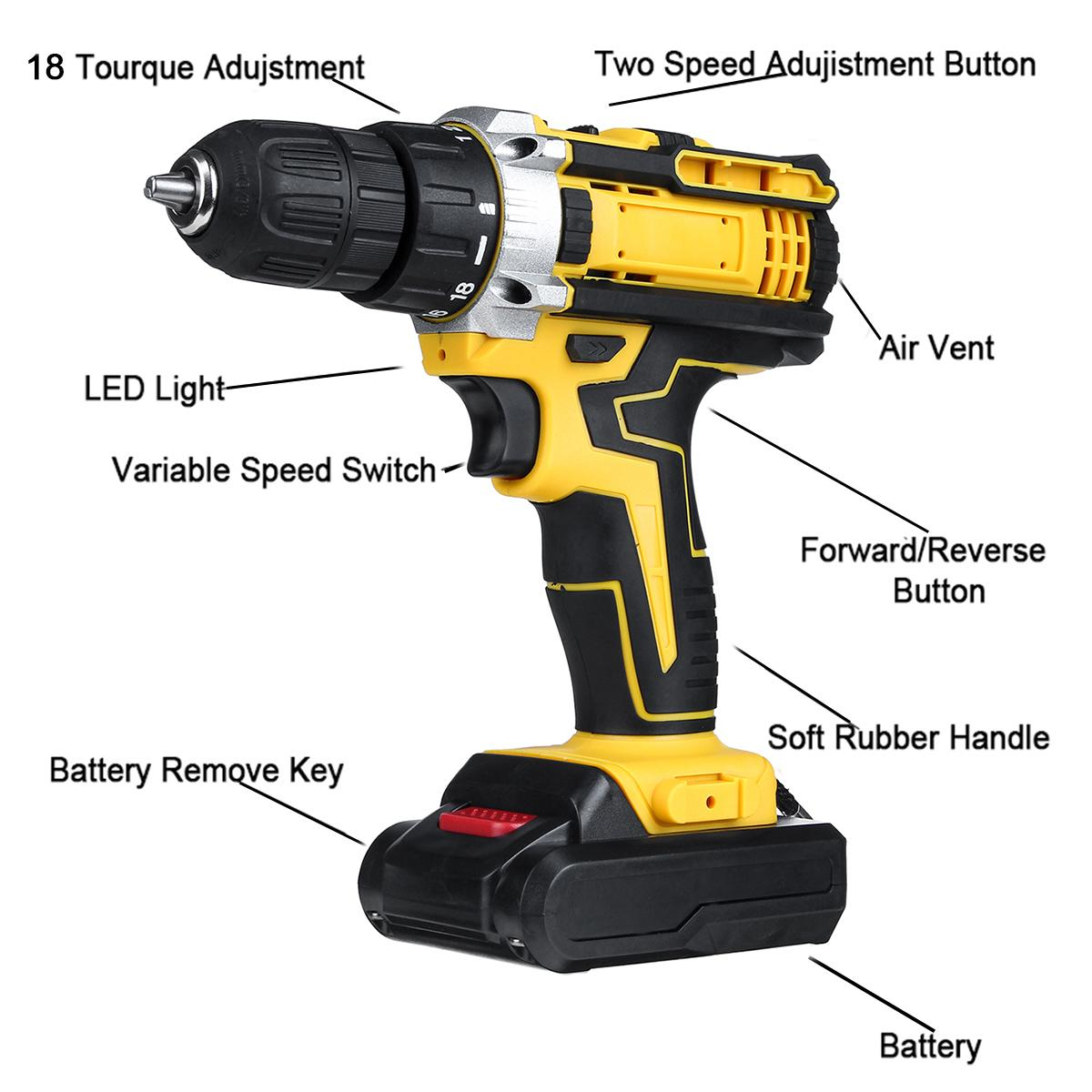 3 en 1 sin cable eléctrico Taladro destornillador 48V 18 Gear par de velocidad Mini Wireless Power del conductor con la batería recargable 2 Y200323