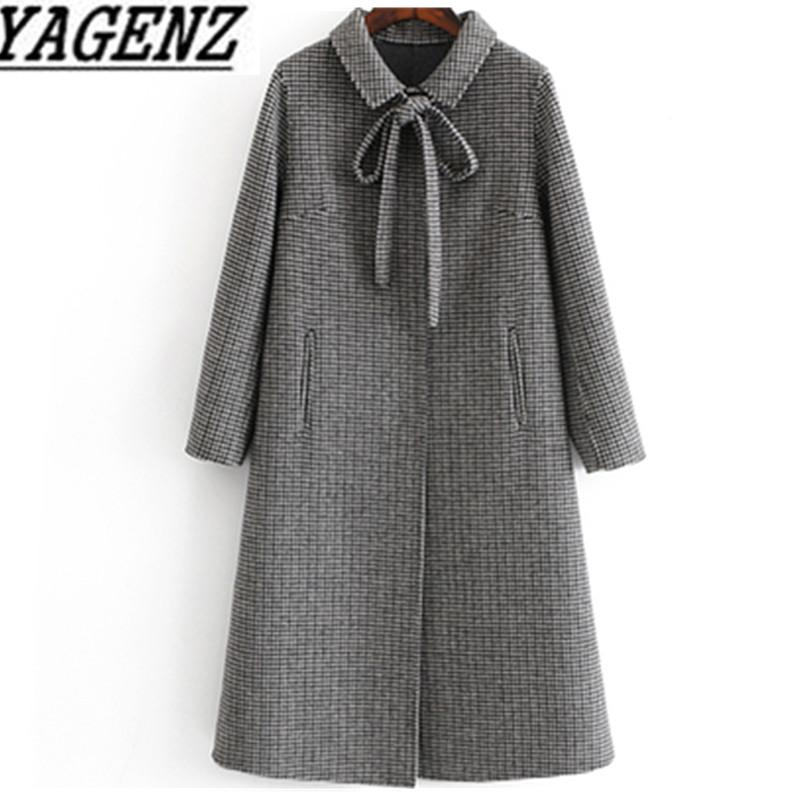 2019 Winter Women Plaid Double-faced Cashmere Wool Jacket Slim Ladies Long Overcoat High quality Female Wool Coat brand clothing