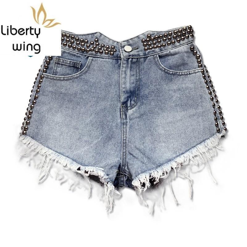 Neue Sommer-Denim Fashion Frauen mit Perlen verziert Niet weiße Mini-Jeans Shorts Qualitäts-Damenkleidung Marke Street