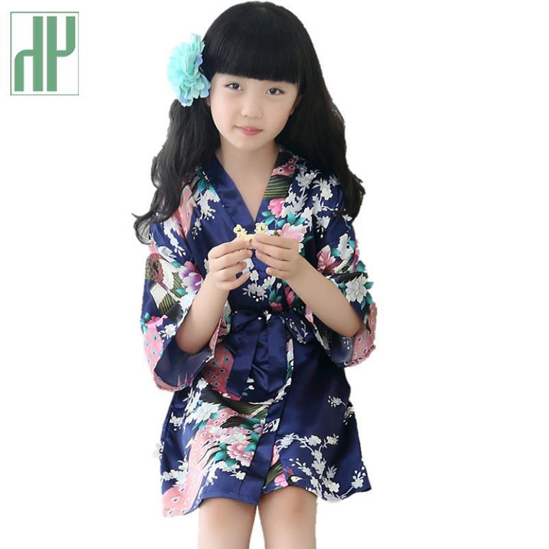 Estate delle ragazze dei bambini accappatoio Bambini Flower Girl accappatoio per i bambini raso di seta del kimono degli indumenti da sposa Night Dress Pijama Ragazze Y200704