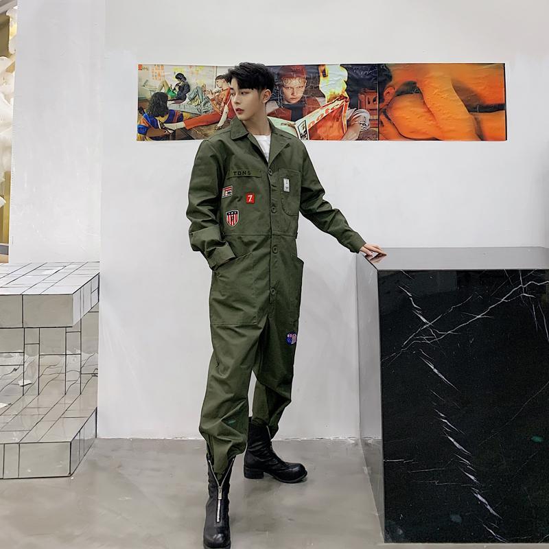 Мужчины Япония Streetwear Vintage Fashion Casual с длинным рукавом комбинезона Cargo Pant Мужской Комбинезоны Пара Одежда Гарем Брюки Hip Hop