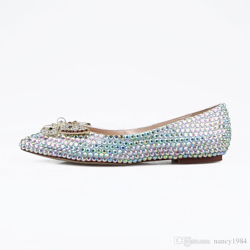 Lindo sapatos de casamento de noiva princesa Banquetes Plano salto de prata AB cristal de Cinderela Prom Flats Pointed Toe Calçados Femininos