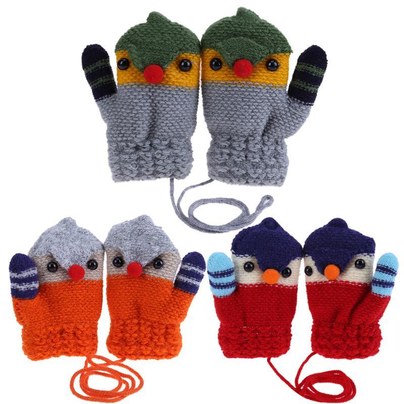 Baby Boys Girls Knitted Gloves Warm Rope Full Finger Mittens Gloves For Kids Hot