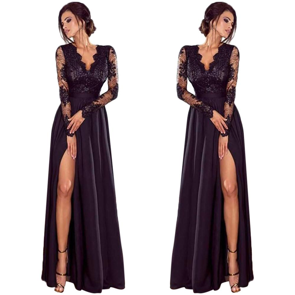 Lady Deep Lace Evening Party Ball Prom Wedding Long Dress Length401#