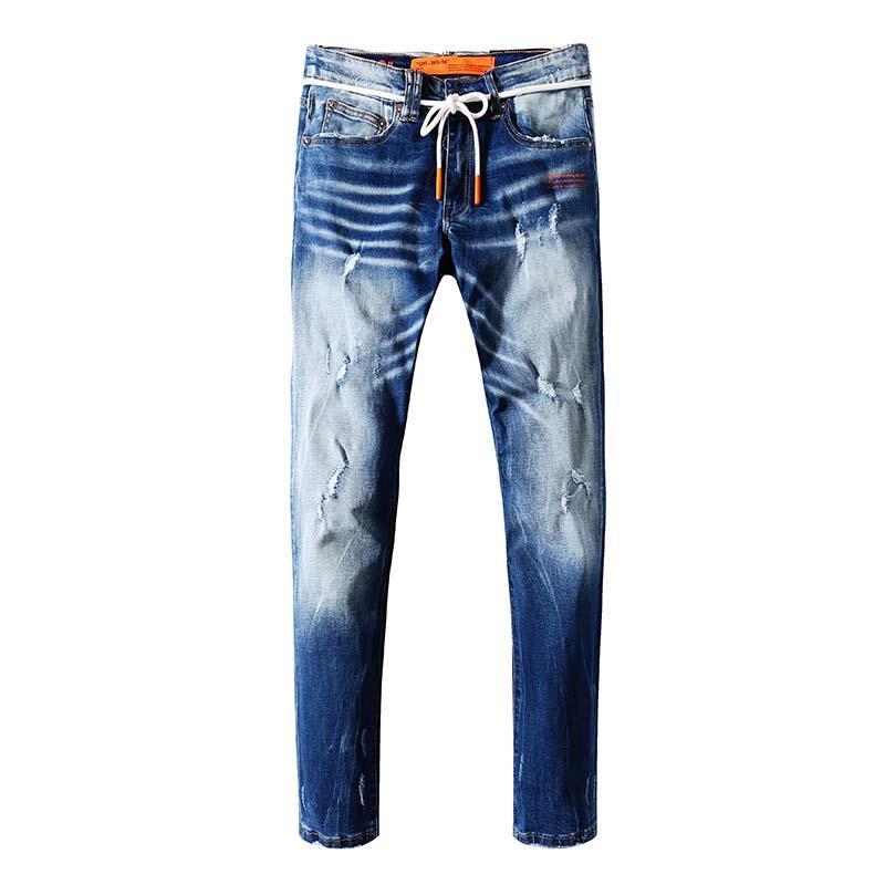 algodón sección delgada de color azul claro de los pantalones vaqueros de los hombres pantalones de largo muele tendencia del verano de la marca marea blanca delgados rectos de los hombres casuales