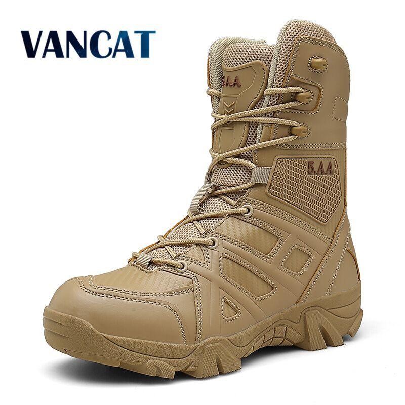 Vancat Erkekler Yüksek Kaliteli Marka Askeri Deri Çizme Özel Kuvvetleri Taktik Desert Combat Erkek Botları Açık Ayakkabı Bilek Boots