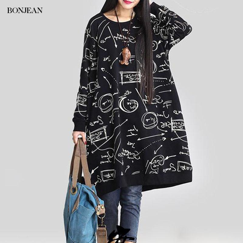 Плюс размер Весна женщин платье Этнический Письмо Printed Урожай Casual Cotton белье с длинным рукавом платья Vestidos Большой размер платья 2020
