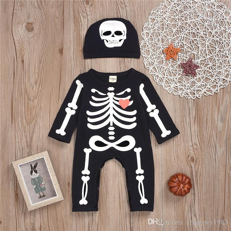 Cadılar Bayramı bebek çocuk giysileri Seti Kafatası Printing jumpsuits bebek tulum Uzun kollu + şapka iki parçalı set çocuklar tasarımcı kıyafetleri ZJY833