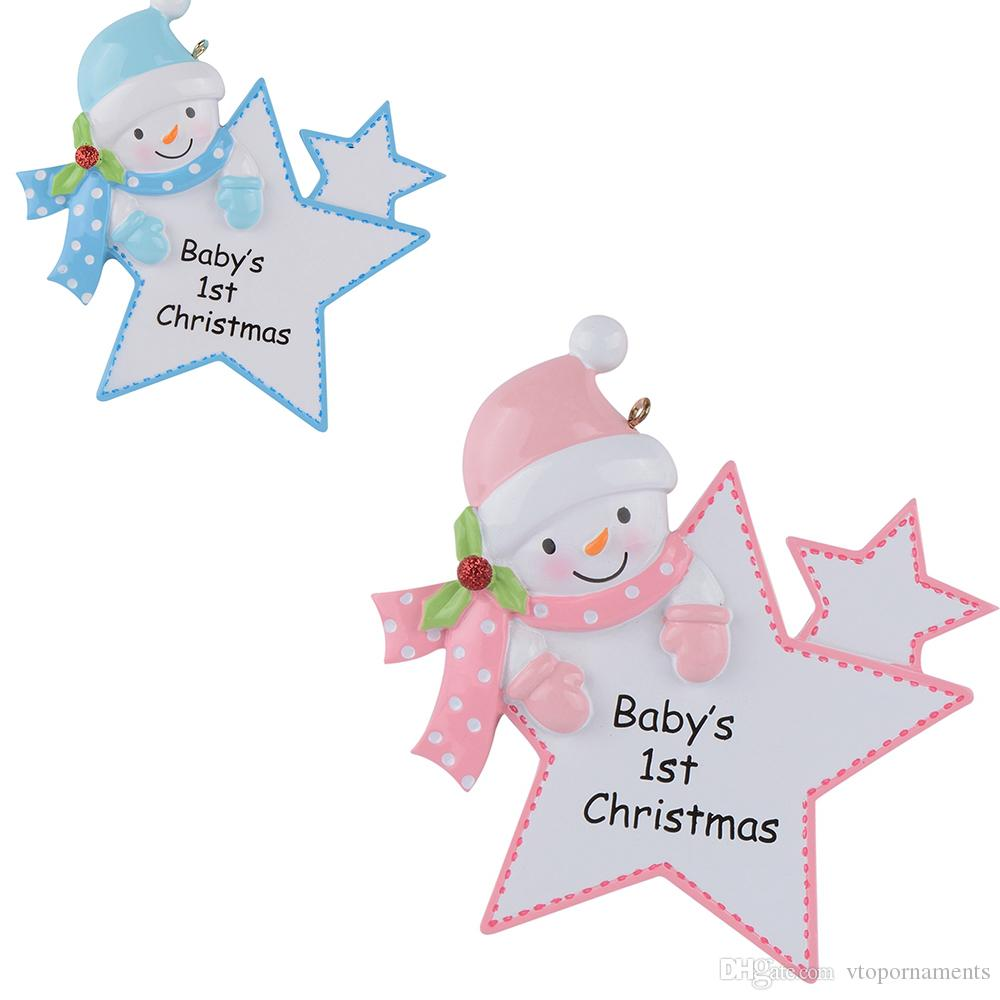 Maxora Personalized Baby First Christmas Ornaments Blue Boy Pink Girl Star As Craft Souvenir For Natal Baby Gifts