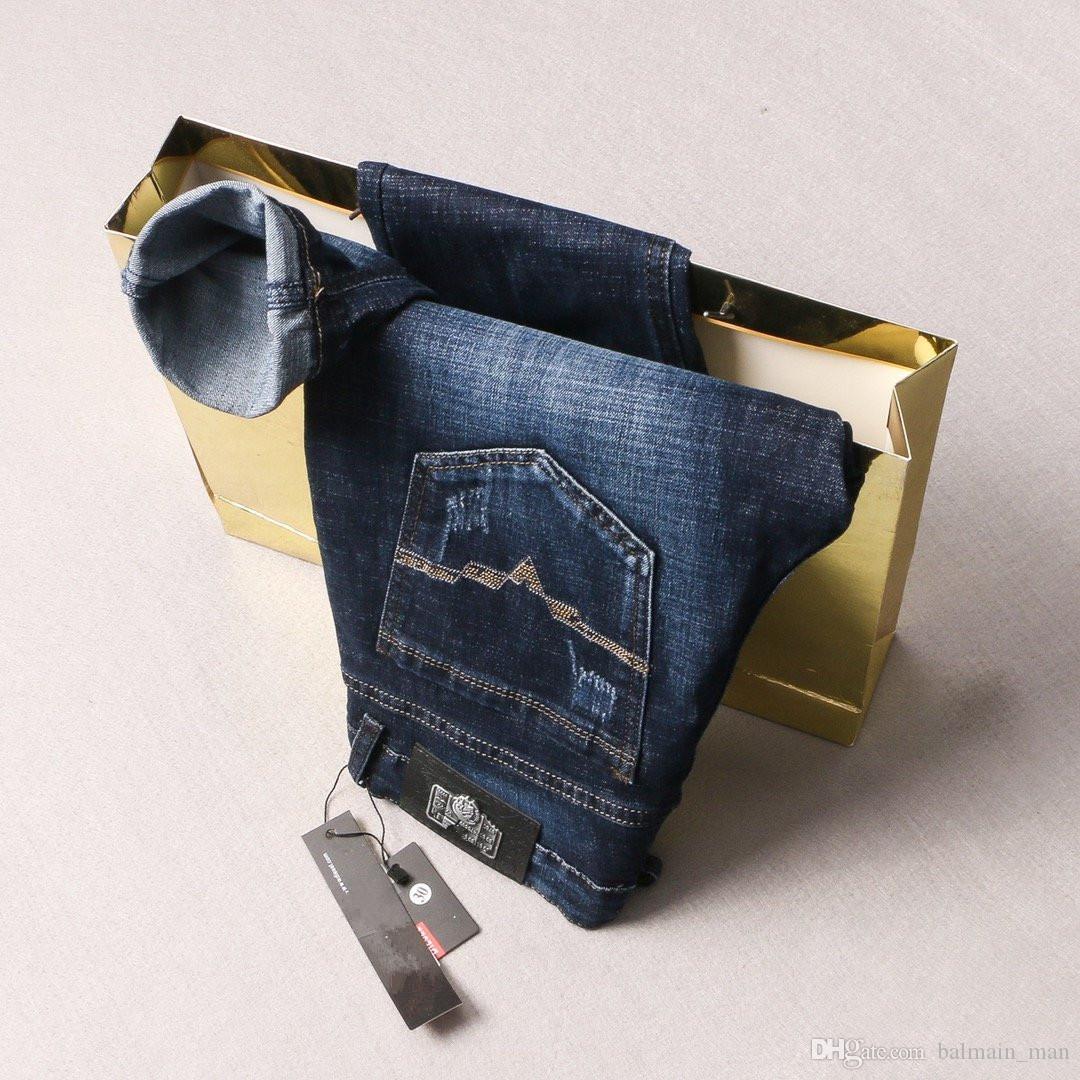 Новые поступления мужские джинсы дизайнер твердые классический стиль мыть синий роскошные джинсы Slim Fit мотоцикл байкер брюки высокое качество США размер 29-40