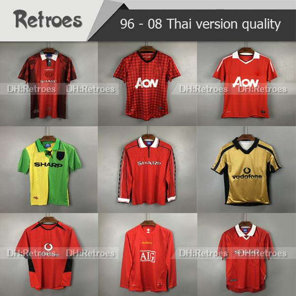 2007 2008 Manchester Retro red Home Jersey 7# Ronaldo 100 anniversary 07 08 Retro #10 Rooney Giggs 98 99 Retro BEKHAM Football Shirts