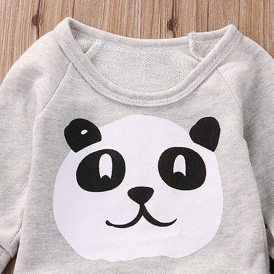2018 Newborn Kids Baby Boy Clothes Girls Panda Hoodie+Black And White Striped Pants Infant Clothes Outfits 2pcs Set