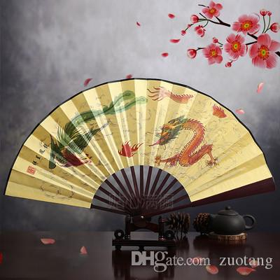 "8"" Antique Traditional Folding Fan Man Chinese Silk Dancing Fans Small Portable Ethnic Handicrafts Gift Hand Fan Decoration"