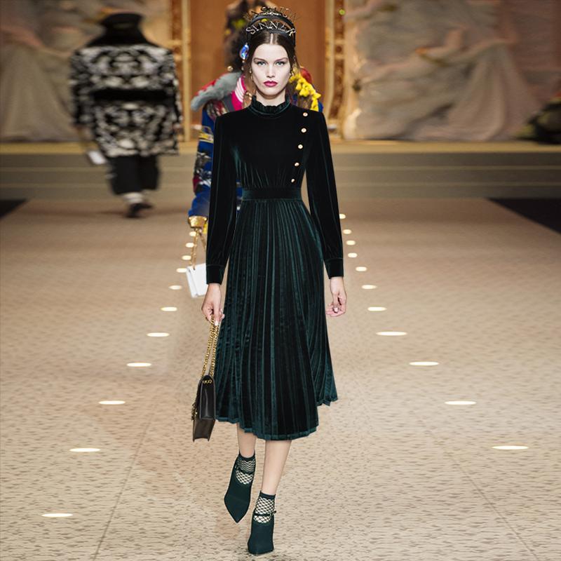 2019 осень зеленый / красный сплошной цвет пояса кнопки середины икры с длинным рукавом стенд шеи мода взлетно-посадочной полосы платья Vestidos 9N12YDY10D