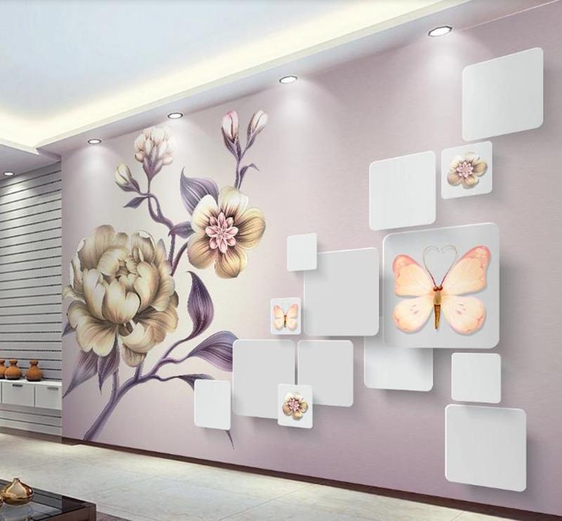 Encargo de la foto del papel pintado 3D pintada a mano hermosa peonía flor del fondo de la sala de TV Murales del papel pintado para paredes 3D