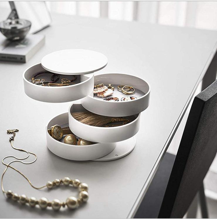Monili del piatto ragazza di stile collana orecchini contenitore di 360 ° Anello multi-funzione dell'esposizione dei monili a più strati di vassoio Visualizza Rotolo Storage Box