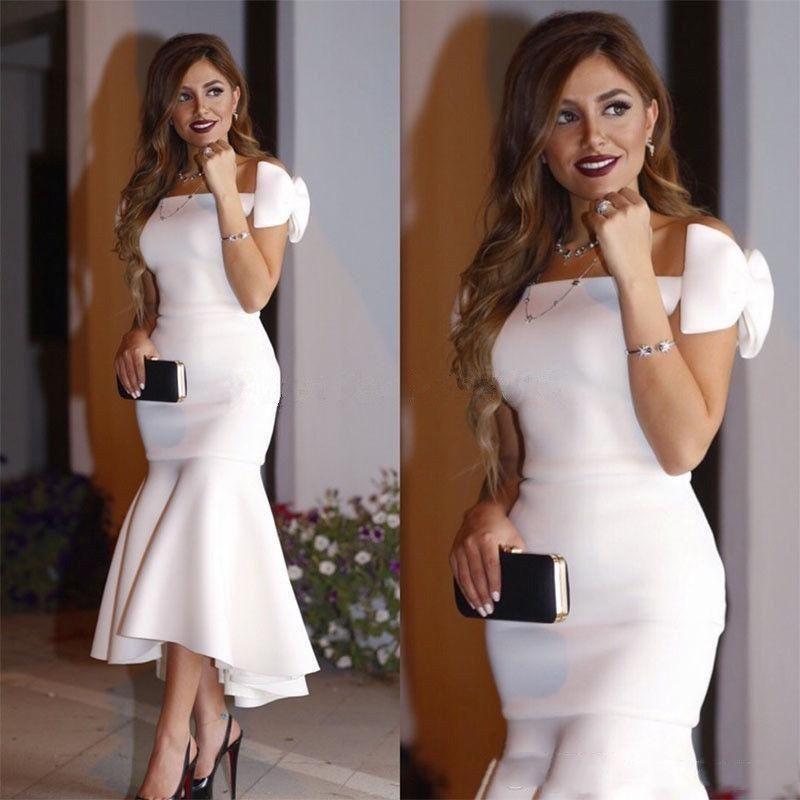 2019 Beyaz Arapça Kısa Beyaz Balo Parti Elbiseler Kapalı Omuz Yay Mermaid Çay Boyu Mütevazı Abiye giyim Zarif Akşam Örgün Elbiseler