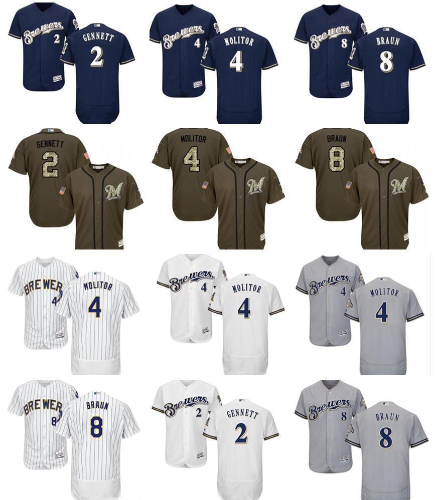 2019 Пользовательские Мужчины Женщины Дети Милуоки Брюэрс 8 Райан Браун 4 Пол Молитор 2 Скутер Gennett Джерси синий Серый Белые рубашки Бейсбол Джерси