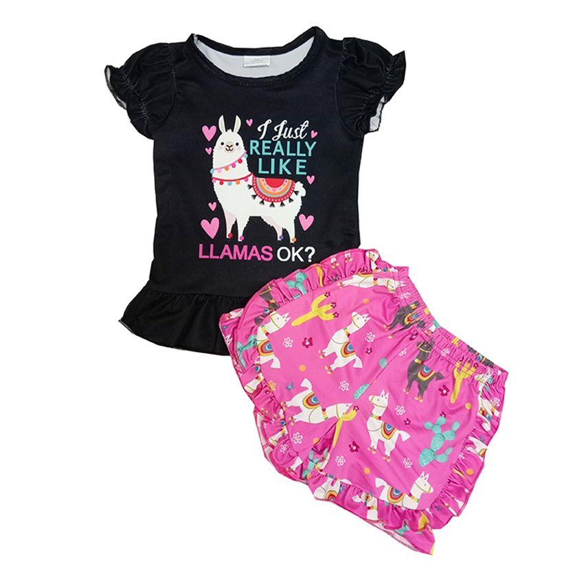 Hot Sale Kids Clothes Set Girls Boutique Outfits Boutique Baby Summer Short Sleeve Pants 2Pcs Fashion Girls Clothing Set