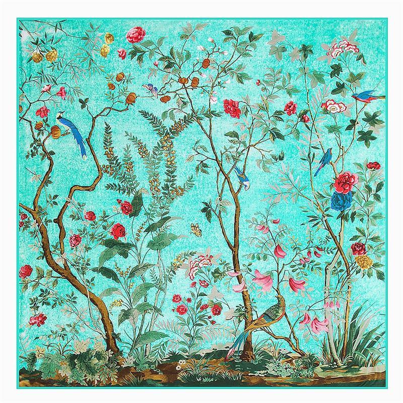 Квадратный шарф 2019 Марка Шелковый шарф женщин певчих птиц Ароматные цветы печати шарф для женщин оголовье, Twill шали Y191022