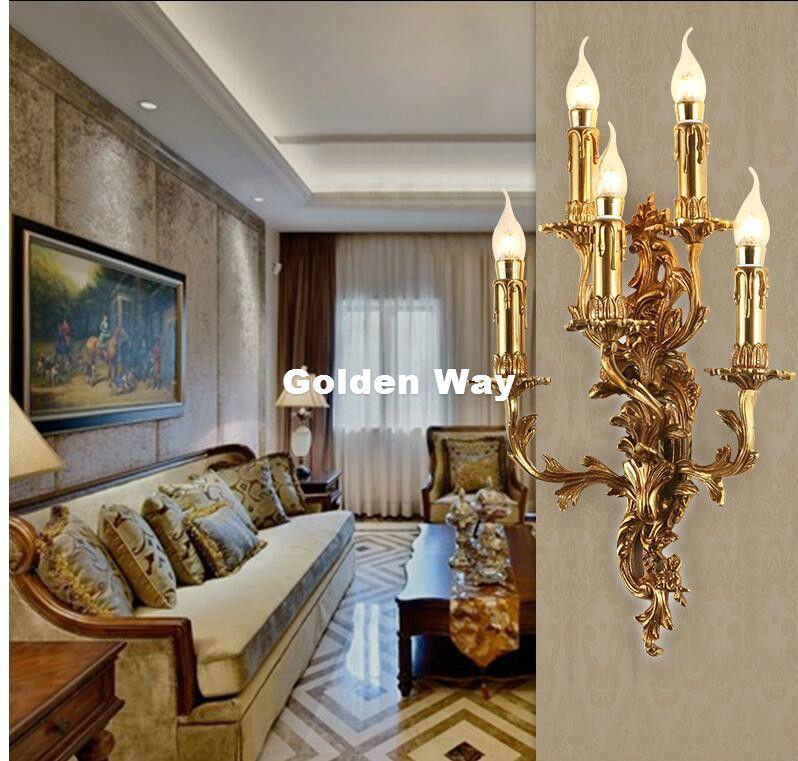 Acheter Livraison Gratuite Luxueux Bronze Applique Murale Or Applique Lampe Europeenne Supports Muraux Lustre Pour Salon Chambre Hotel De 499 0 Du