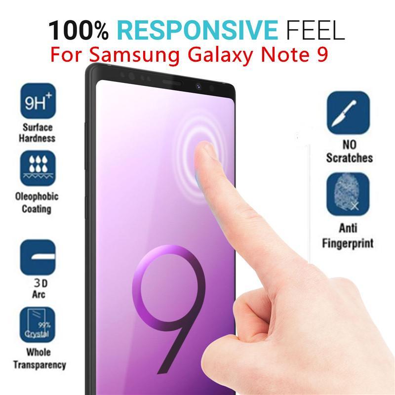Protetor de tela de vidro temperado para samsung galaxy note 9 curvo 3d 9 h cobertura completa película dura de proteção película fina