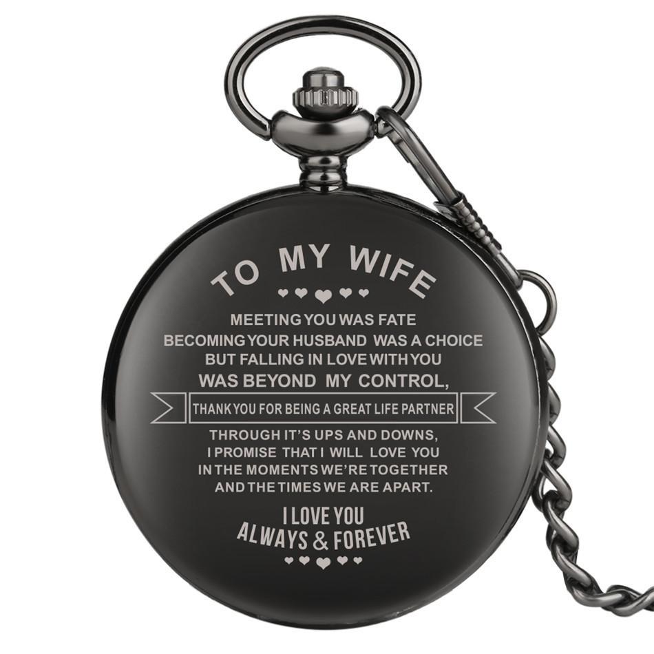 내 아내 디자인 조각 사용자 정의 레트로 석영 회중 시계 기념일 커플 선물 아라비아 숫자 펜던트 시계를 표시
