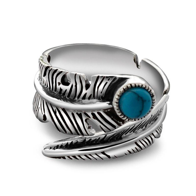 Réel 925 Sterling Silver Rings Pour Hommes Et Femmes Vintage Plume Anneau Avec Bijoux En Pierre Naturelle Ouverture Réglable Type J190716
