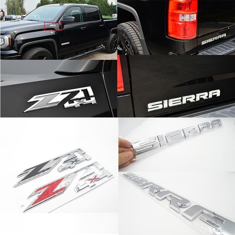 الذيل GMC سييرا Z71 4X4 ABS البلاستيك سيارة هود باب الحاجز الخلفي جذع شارة شعار ملصق مائي لشاحنة بيك أب