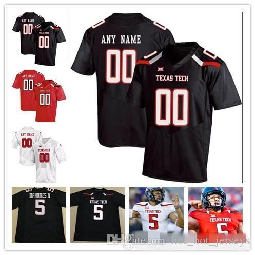 Пользовательские Texas Tech TTU 2019 College Football Любой Название Количество Черный Красный Белый 10 Алан Бауман Mahomes Мэйфилд Уэлкер Мужчины молодежи Kid Джерси