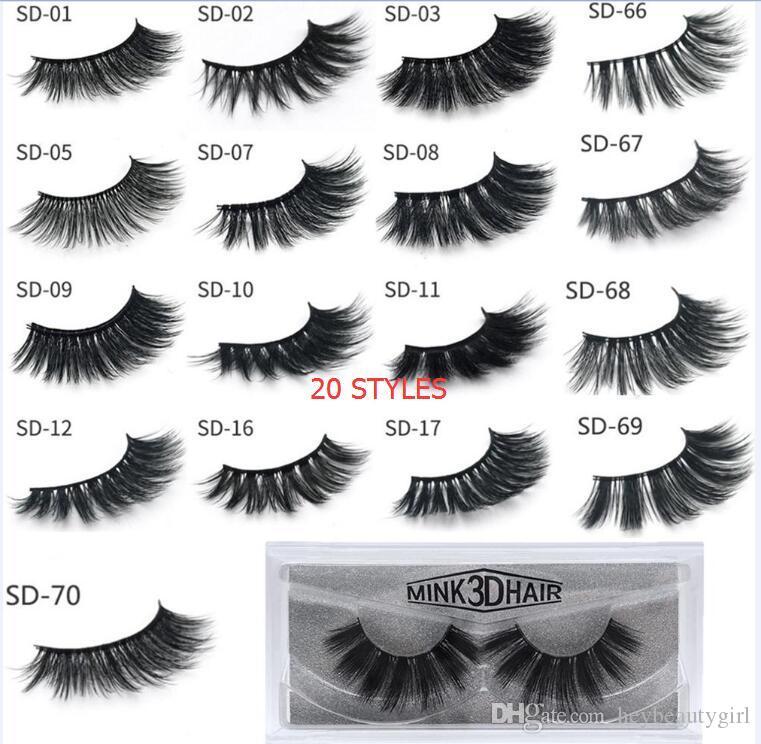BEST 3D Mink Eyelashes Eye makeup Mink False lashes Soft Natural Thick Fake Eyelashes 3D Eye Lashes Extension Beauty Tools 20 styles DHL