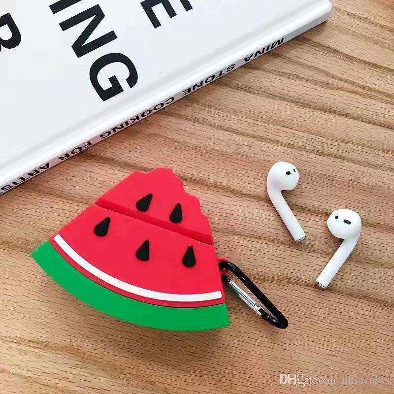 Red Watermelon Soft Silicone Headphone Cases For Airpods Case Twins Wireless Anti-lost Protection Earphone Cover With Keychain Gifts Toy