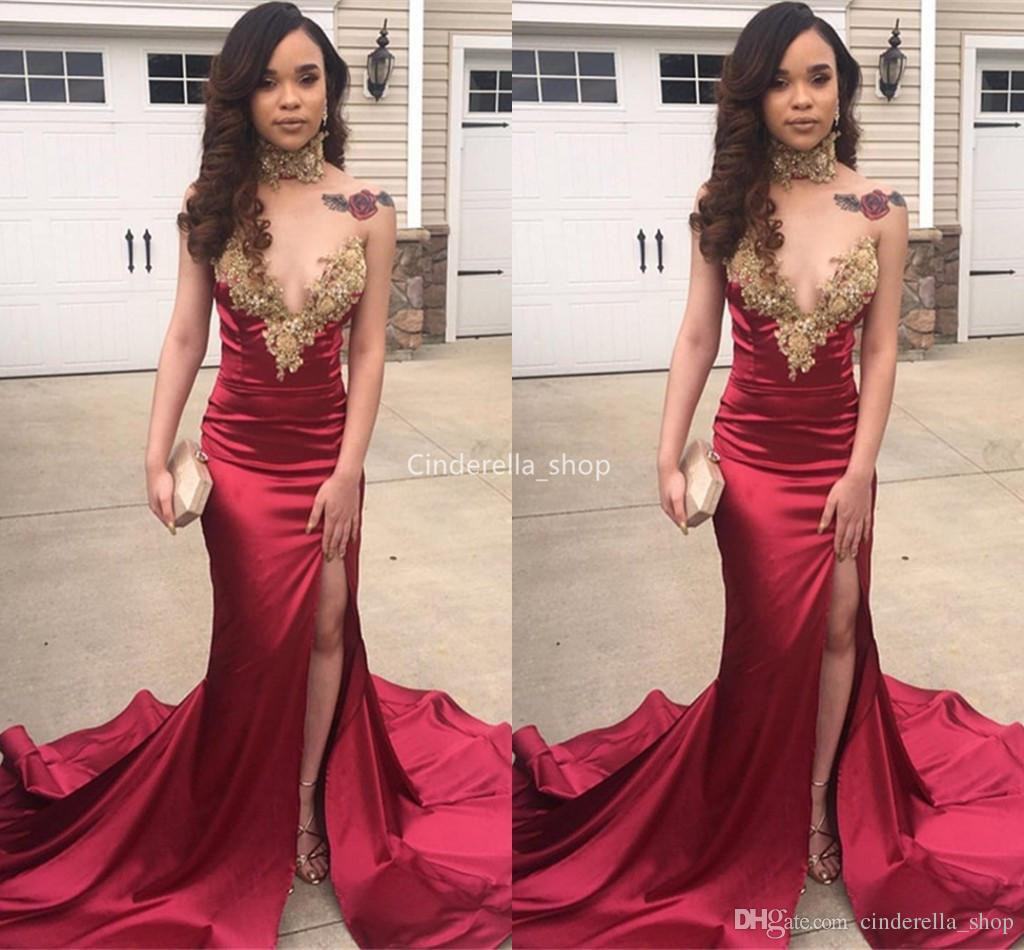 Sexy Deep V Neck Dark Red Mermaid Prom Dresses Long 2019 With Gold  Appliques Arabic African Party Evening Dresses High Slit Robes Classy Prom  Dresses