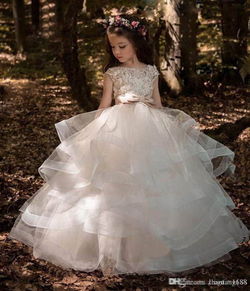 Blumenmädchenkleider Hochzeit Blush Pink Princess Tutu Sequined Appliqued Spitze-Bogen-Kinder Prinzessin Kids Party-Geburtstags-Gowns423535